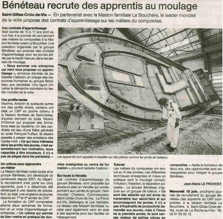 Beneteau Recrute Des Apprentis Au Moulage Centre De Formation D